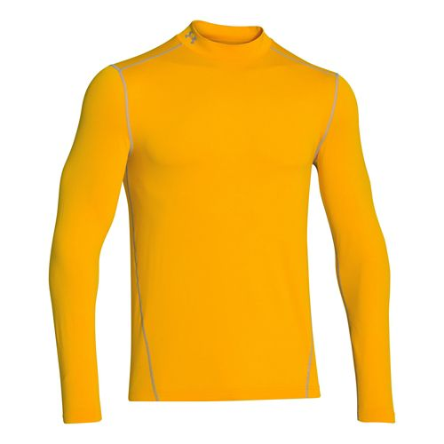 Mens Under Armour EVO ColdGear Fitted Mock Long Sleeve No Zip Technical Tops - Gold ...