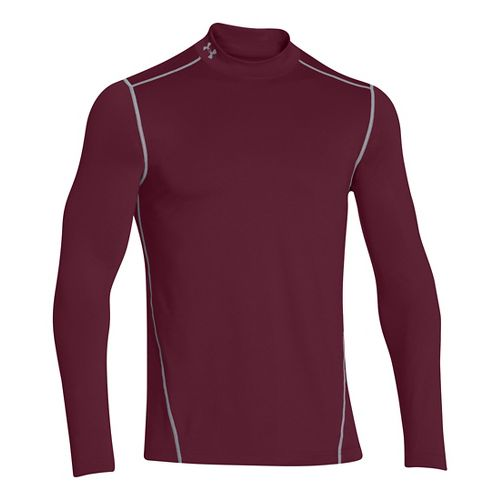 Mens Under Armour EVO ColdGear Fitted Mock Long Sleeve No Zip Technical Tops - Maroon ...