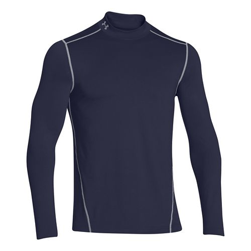 Mens Under Armour EVO ColdGear Fitted Mock Long Sleeve No Zip Technical Tops - Midnight Navy XXXL