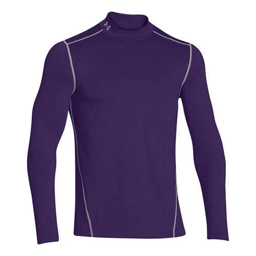 Mens Under Armour EVO ColdGear Fitted Mock Long Sleeve No Zip Technical Tops - Purple ...