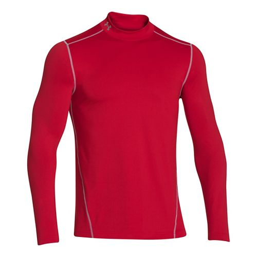 Mens Under Armour EVO ColdGear Fitted Mock Long Sleeve No Zip Technical Tops - Red ...
