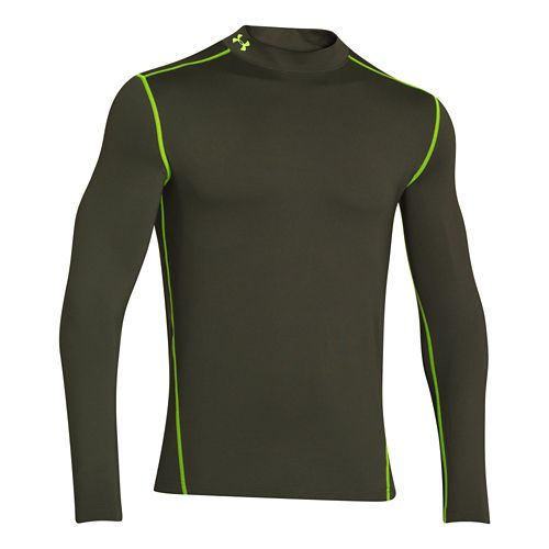 Mens Under Armour EVO ColdGear Fitted Mock Long Sleeve No Zip Technical Tops - Rifle ...
