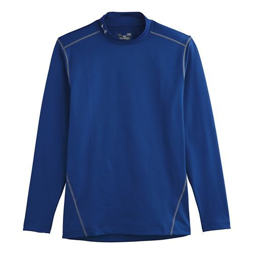 Mens Under Armour EVO ColdGear Fitted Mock Long Sleeve No Zip Technical Tops - Royal ...