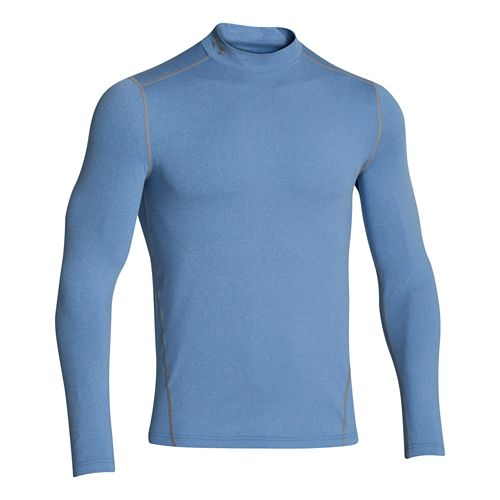 Mens Under Armour EVO ColdGear Fitted Mock Long Sleeve No Zip Technical Tops - Scatter ...