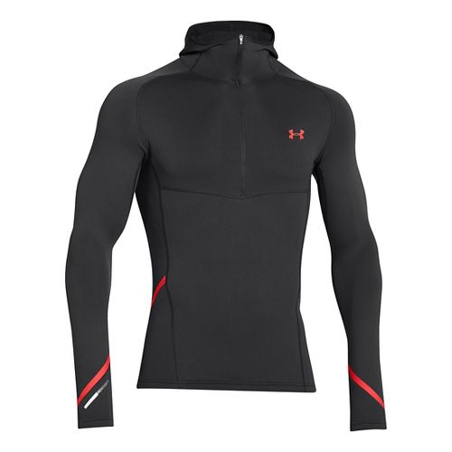 Mens Under Armour Stretch ColdGear 1/2 Zip Running Jackets - Black/Risk Red L
