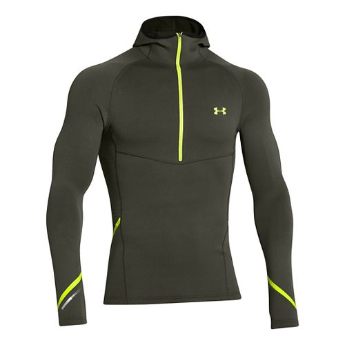 Mens Under Armour Stretch ColdGear 1/2 Zip Running Jackets - Rifle Green/Hi-Viz Yellow L