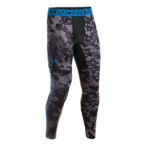 Mens Under Armour EVO ColdGear Printed Compression Legging Fitted Tights - Black/Electric Blue L