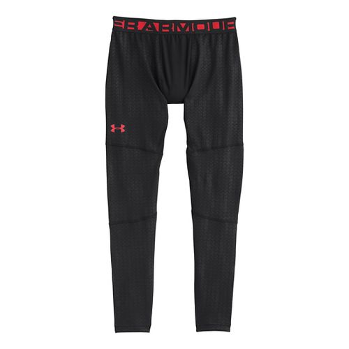 Mens Under Armour EVO ColdGear Printed Compression Legging Fitted Tights - Black/Risk Red XL
