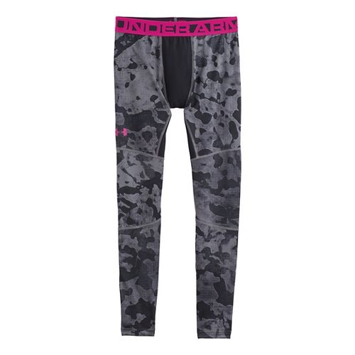 Mens Under Armour EVO ColdGear Printed Compression Legging Fitted Tights - Graphite/Tropic Pink S