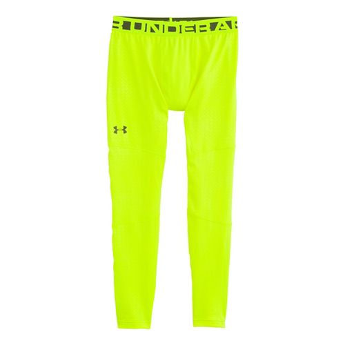 Mens Under Armour EVO ColdGear Printed Compression Legging Fitted Tights - Hi-Viz Yellow/Rifle ...