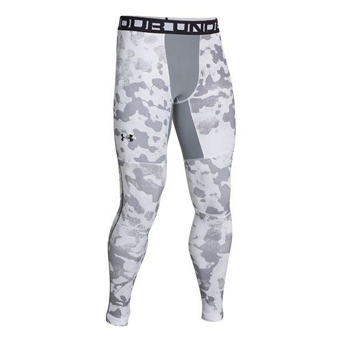 Mens Under Armour EVO ColdGear Printed Compression Legging Fitted Tights - White/Black XL