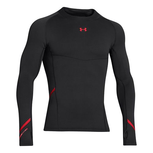Mens Under Armour Stretch ColdGear Mock Long Sleeve No Zip Technical Tops - Black/Risk Red ...