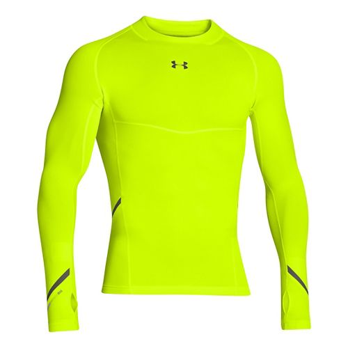 Mens Under Armour Stretch ColdGear Mock Long Sleeve No Zip Technical Tops - Hi-Viz Yellow/Rifle ...