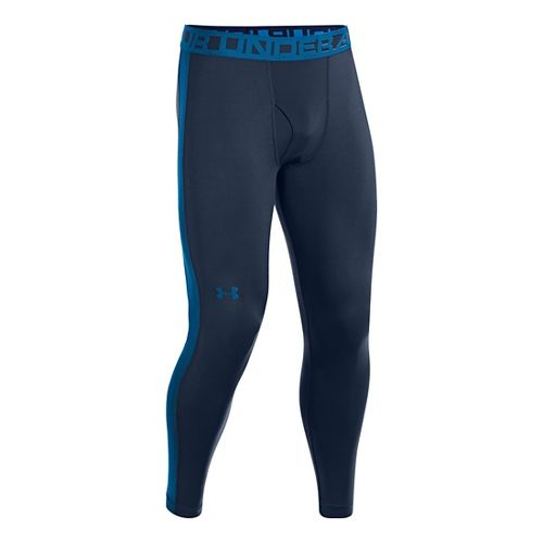 Mens Under Armour ColdGear Infrared Legging Fitted Tights - Academy/Key Blue XL