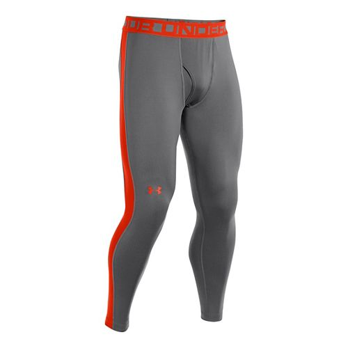 Mens Under Armour ColdGear Infrared Legging Fitted Tights - Graphite/Volcano L
