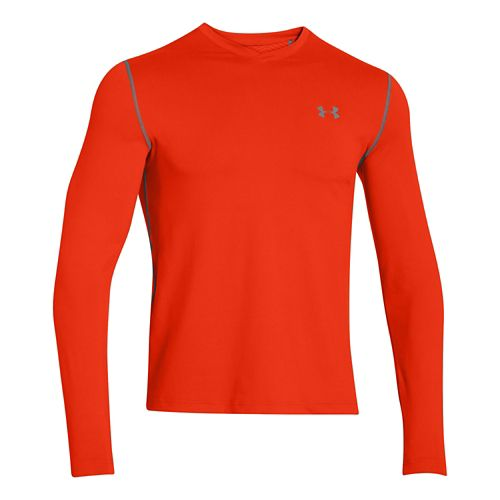 Mens Under Armour ColdGear Infrared T Long Sleeve No Zip Technical Tops - Volcano/Print S ...