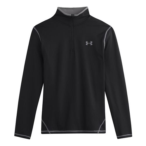 Mens Under Armour ColdGear Long Sleeve 1/2 Zip Technical Tops - Black/Steel L
