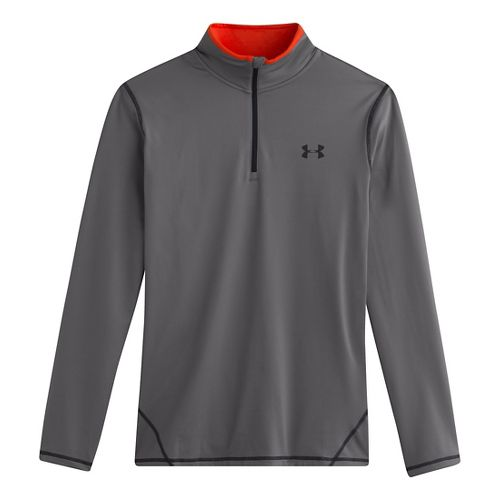 Mens Under Armour ColdGear Long Sleeve 1/2 Zip Technical Tops - Graphite/Volcano M