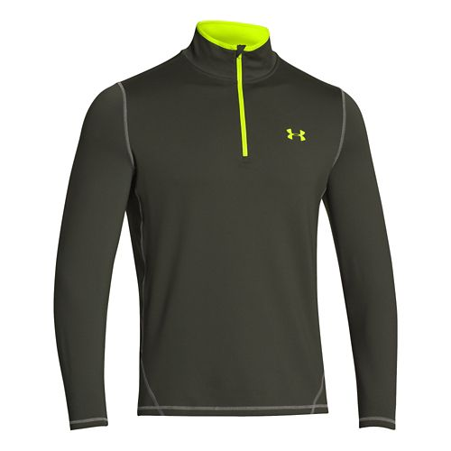 Mens Under Armour ColdGear Long Sleeve 1/2 Zip Technical Tops - Rifle Green/Hi-Viz Yellow XL ...