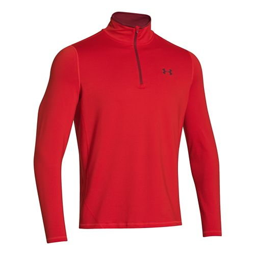 Mens Under Armour ColdGear Long Sleeve 1/2 Zip Technical Tops - Risk Red/Ox Blood S ...