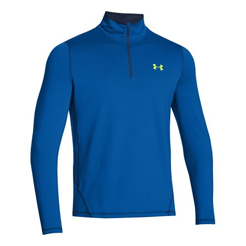 Mens Under Armour ColdGear Long Sleeve 1/2 Zip Technical Tops - Scatter/Academy S
