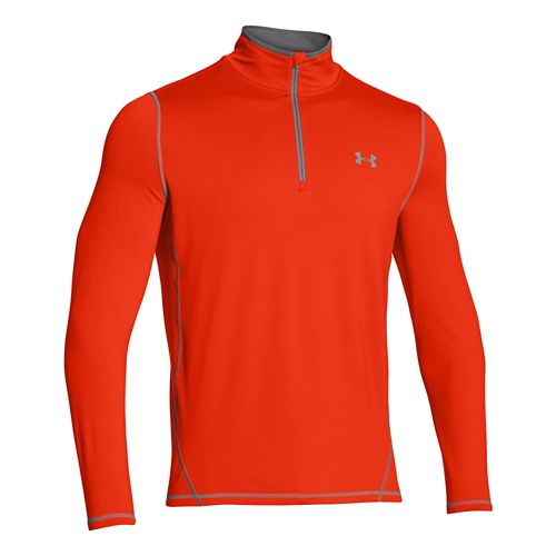 Mens Under Armour ColdGear Long Sleeve 1/2 Zip Technical Tops - Volcano/Graphite L