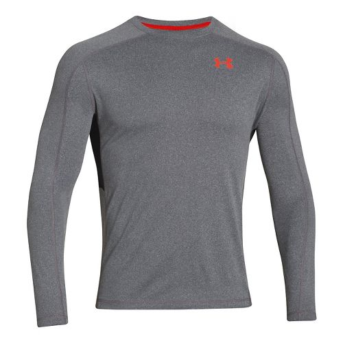 Mens Under Armour Elevated T Long Sleeve No Zip Technical Tops - Anthracite XXL