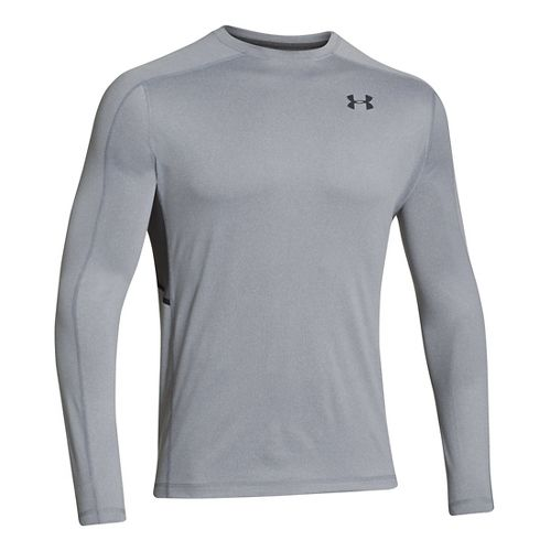 Mens Under Armour Elevated T Long Sleeve No Zip Technical Tops - Steel XXXL
