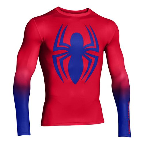 Mens Under Armour Alter Ego HeatGear Compression Long Sleeve No Zip Technical Tops - Red/Royal ...
