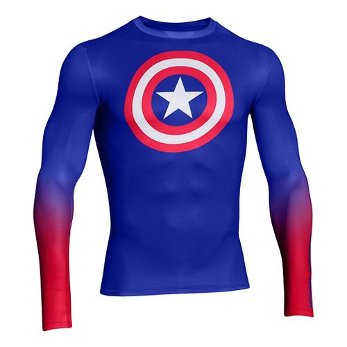 Mens Under Armour Alter Ego HeatGear Compression Long Sleeve No Zip Technical Tops - Royal/Red ...