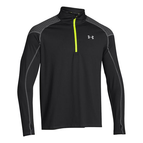Mens Under Armour ColdGear Infrared Chrome Long Sleeve 1/2 Zip Technical Tops - Black L ...