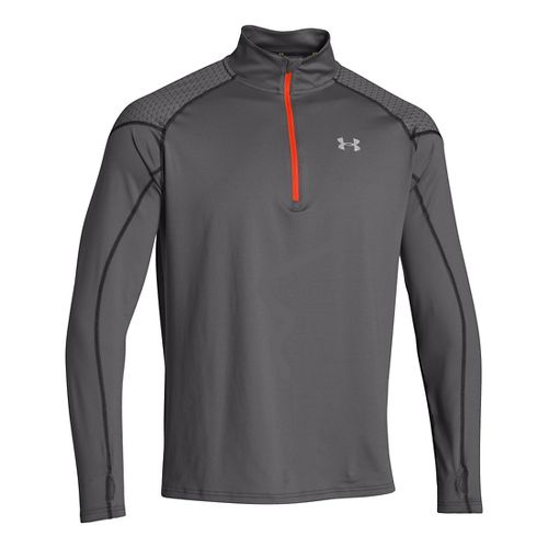 Mens Under Armour ColdGear Infrared Chrome Long Sleeve 1/2 Zip Technical Tops - Graphite S ...