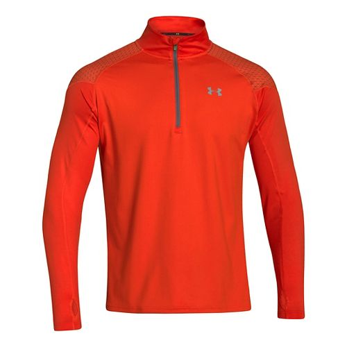 Mens Under Armour ColdGear Infrared Chrome Long Sleeve 1/2 Zip Technical Tops - Volcano M ...
