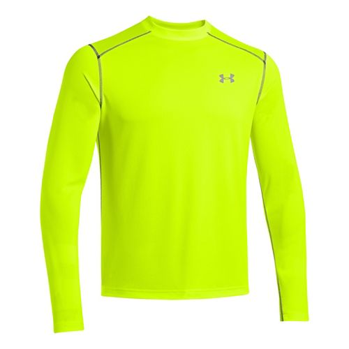 Mens Under Armour Promise Land Long Sleeve No Zip Technical Tops - Hi-Viz Yellow L ...