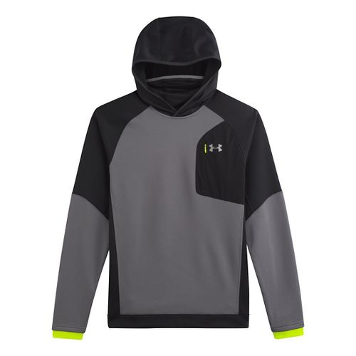 Mens Under Armour ColdGear Infrared Chrome Hoody Outerwear Jackets - Black/Reflective M