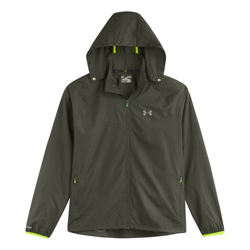 Mens Under Armour Storm Anchor Outerwear Jackets - Rifle Green/Hi-Viz Yellow L