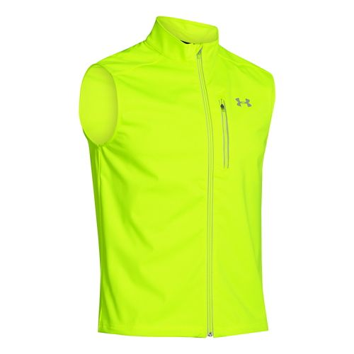 Mens Under Armour ColdGear Infrared Chrome Running Vests - Hi-Viz Yellow L