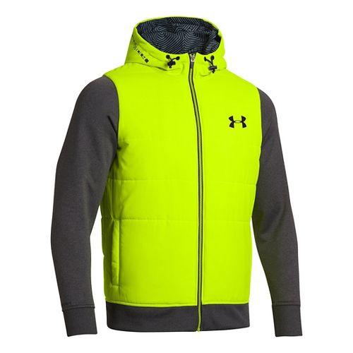 Mens Under Armour ColdGear Infrared Storm Hybrid Outerwear Jackets - Hi-Viz Yellow XXL