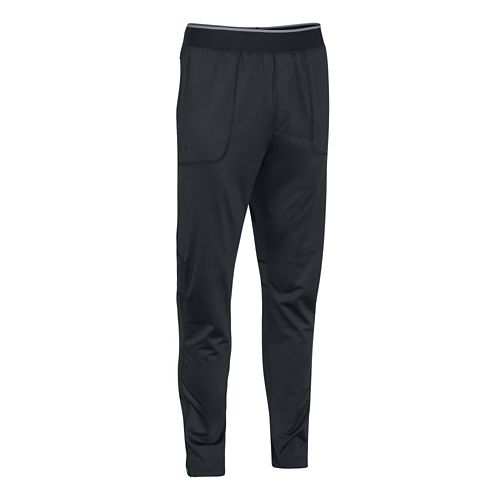 Mens Under Armour Elevated Tapered Knit Warm-Up Pants - Anthracite/Black M-T