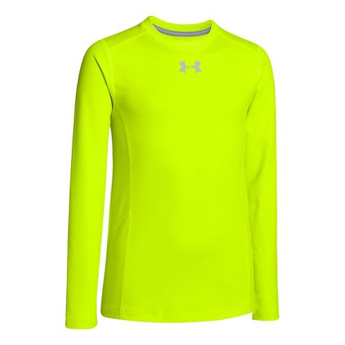 Kids Under Armour Boys ColdGear Infrared Crew Long Sleeve No Zip Technical Tops - High ...