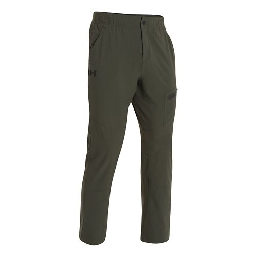Mens Under Armour Elevated Woven Warm-Up Pants - Rifle Green M