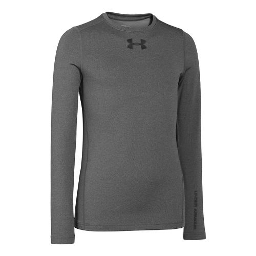 Kids Under Armour Boys ColdGear EVO Fitted Crew Long Sleeve No Zip Technical Tops - ...