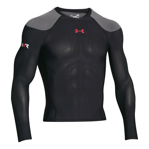 Mens Under Armour Recharge Energy Shirt Long Sleeve No Zip Technical Tops - Black/Red XXL ...