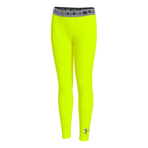 Kids Under Armour Boys ColdGear EVO Fitted Legging Fitted Tights - High Vis Yellow L ...
