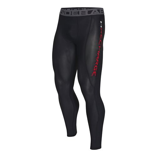 Mens Under Armour Recharge Energy Legging Fitted Tights - Black/Red XL