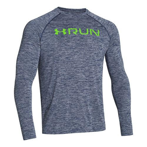 Mens Under Armour Run T Long Sleeve No Zip Technical Tops - Academy/Gecko Green XL ...