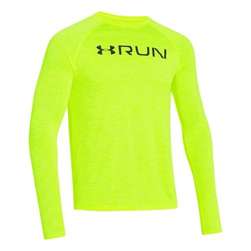 Mens Under Armour Run T Long Sleeve No Zip Technical Tops - Hi-Viz Yellow/Graphite L ...