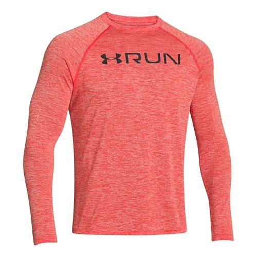 Mens Under Armour Run T Long Sleeve No Zip Technical Tops - Volcano/Graphite L