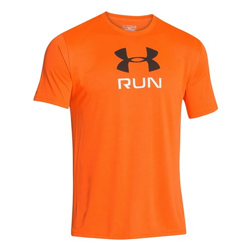 Mens Under Armour Run Big Graphic T Short Sleeve Technical Tops - Blaze Orange L ...