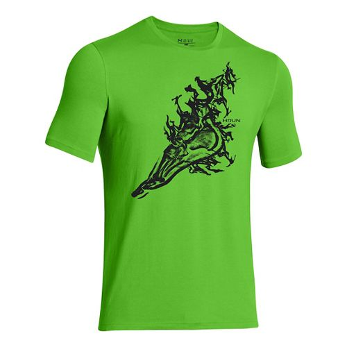 Mens Under Armour Foot T Short Sleeve Technical Tops - Gecko Green/Black L